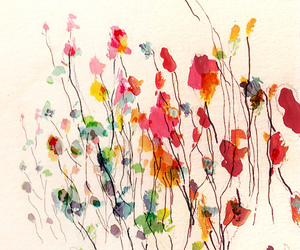 art, bright, and flowers image