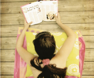 book, yellow, and girl image