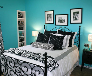 bedroom, blue, and black image