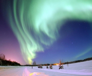 sky, snow, and northern lights image