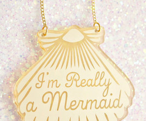 mermaid, necklace, and gold image