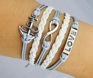leather bracelets, love bracelets, and anchor bracelets image
