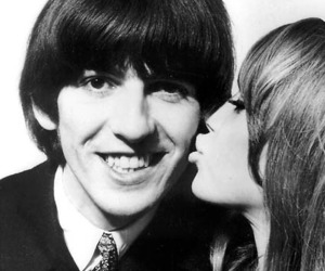 pattie boyd, george harrison, and beatles image