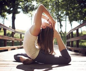 girl, yoga, and flexible image