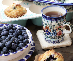 tea, blueberry, and muffin image