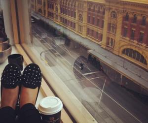 shoes, coffee, and city image