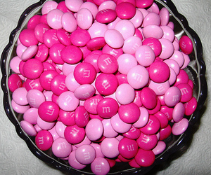 pink, m&m, and food image