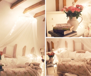 room, flowers, and bed image