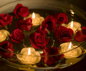 rose, candle, and romantic image