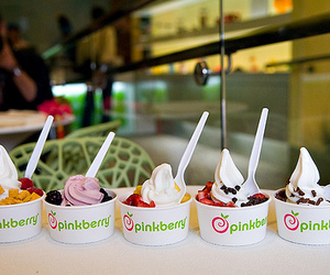 pinkberry, ice cream, and food image