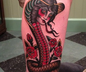 snake, tattoo, and woman image