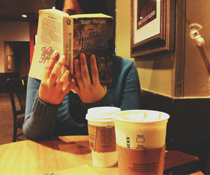 book, coffeeshop, and coffee image