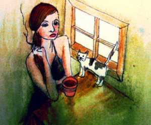 cat, girl, and coffee image