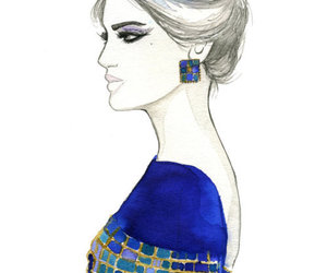 blue, watercolor, and classy image