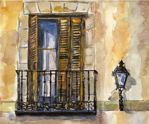 art, watercolor, and window image