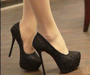 black, glitter, and heels image