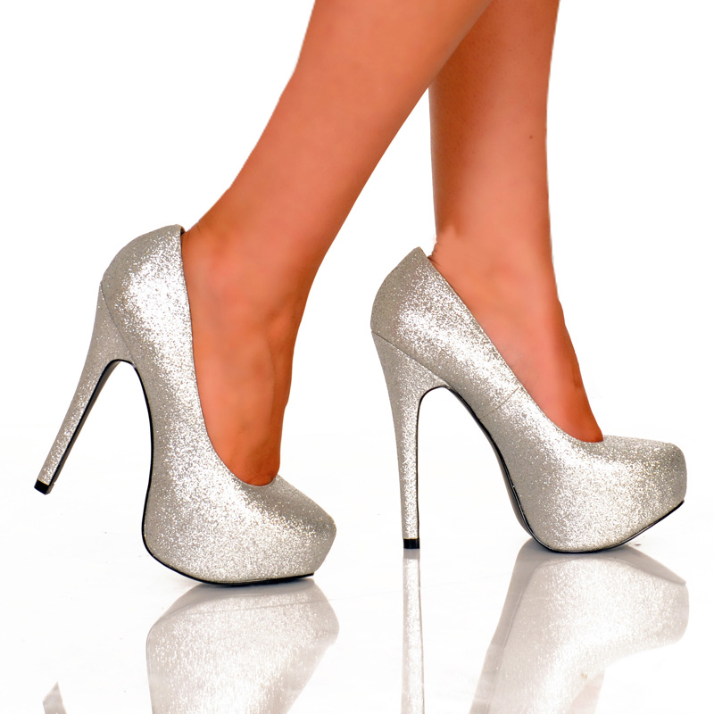 Silver Glitter Bow Front Holiday Heels Heel Shoes Online Store Sales
