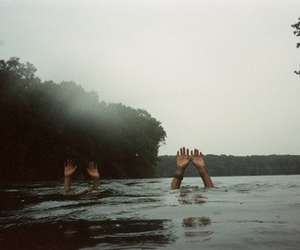 hands, water, and vintage image