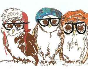 owl, glasses, and art image