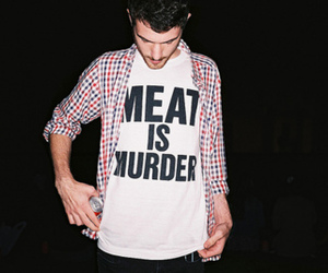 boy, meat, and vegetarian image