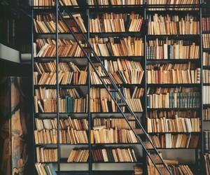 book, bookshelf, and stairs image