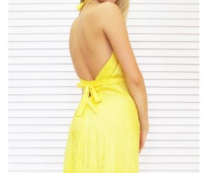 chic, yellow, and maxi dress image