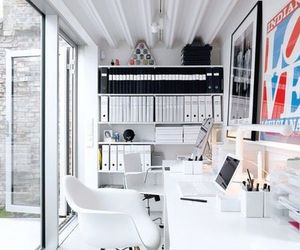 office, white, and interior image