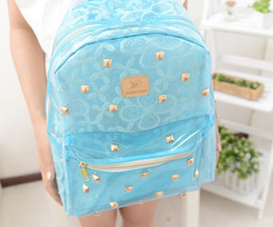 blue, backpack, and spliced image