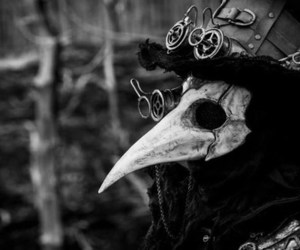 black and white, mask, and plague doctor image