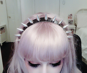 hair, spikes, and pastel goth image