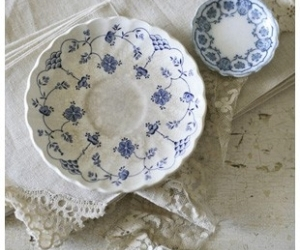 blue, laces, and shabby chic image
