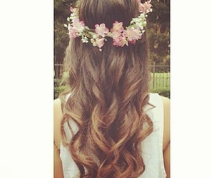 hair, flowers, and brunette image