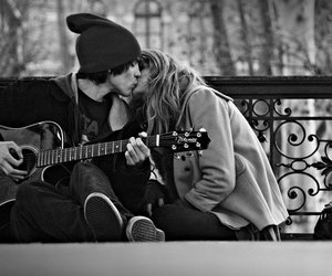 art, couple, and guitar image