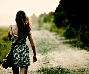 girl, dress, and alone image