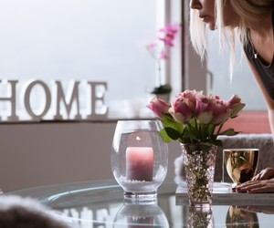 home, candle, and flowers image
