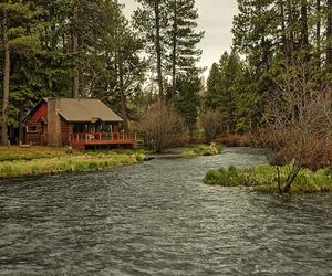 cabin, lake, and landscape image