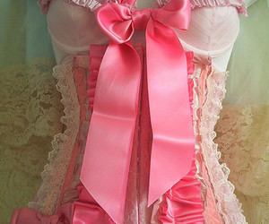 corset, pink, and bow image