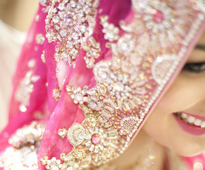 pink, bride, and indian image