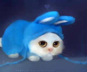 cat, rabbit, and blue image