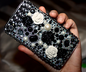 black, cell, and flowers image