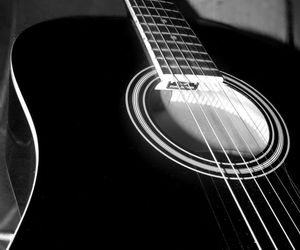 acoustic, black and white, and guitar image