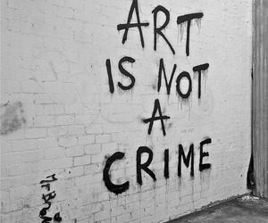 art, black and white, and crime image