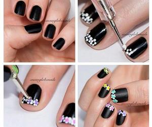 black, flowery, and nail art image