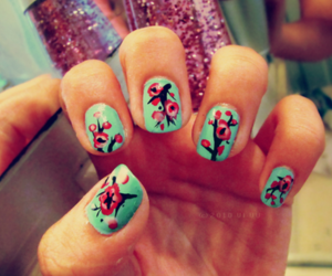 nails, cool, and flowers image