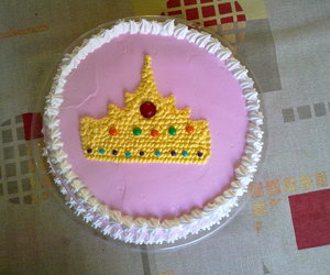 cake, crown, and pink image