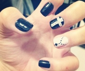 black and white, nails, and love image