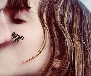 butterfly, kiss, and couple image