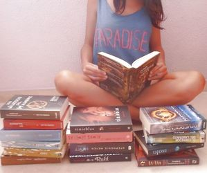 book, girl, and paradise image