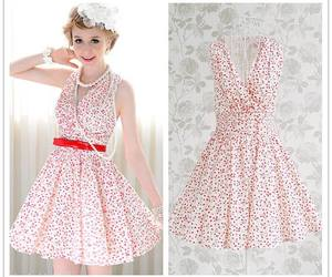 summer dress, white dress, and 50's style image
