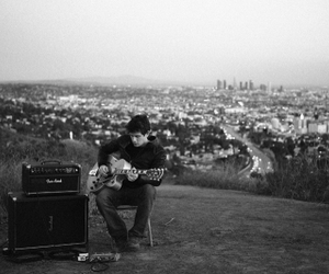 john mayer, black and white, and guitar image